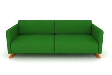 isolated green sofa.