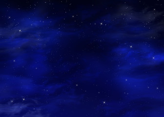 starry night sky, blue background