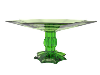 dessert bowl made of green glass