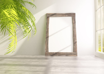 Mock up frame with palm