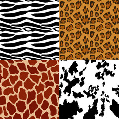 Set of four seamless animal patterns