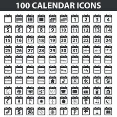 Black calendar icon set