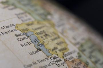 Macro of Portugal on globe