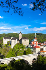 Fotomurales - Loket Castle with town, Czech Republic