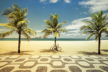 Palms with bicycle on Ipanema Beach in Rio de Janeiro