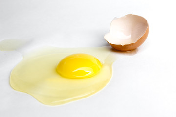 Broken chiken egg isolated on white background