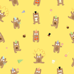 Seamless pattern to birthday with cute cartoon bears on a yellow background.