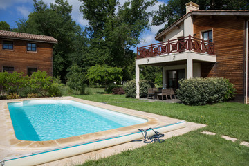 Architecture, beautiful villa with swimming pool, outdoors