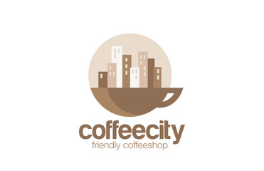 Coffeehouse Logo design circle vector template...Cityscape on Su