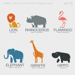 Africa Safari Wild Animals Logos negative space style design vec