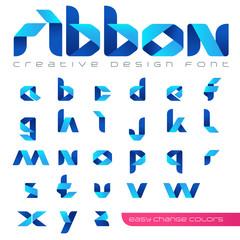 Ribbon Font vector Creative Design hitech style. ABC origami