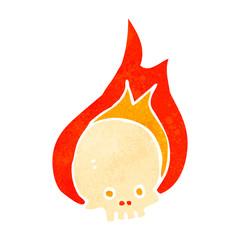 retro cartoon flaming skull