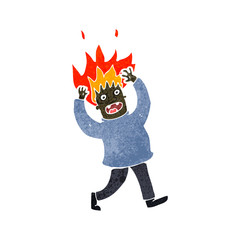 retro cartoon man with hair on fire