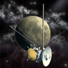 Unmanned spacecraft similar with the Cassini orbiter passing the Moon.