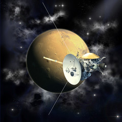 Unmanned spacecraft similar with the Cassini orbiter passing a Mars like planet.
