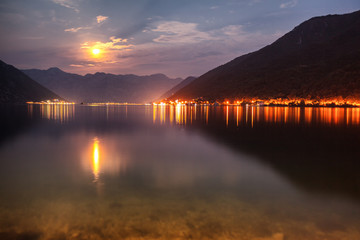 Golden Moonlight Reflection at a Bay