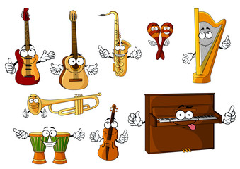 Classic cartoon musical instruments characters