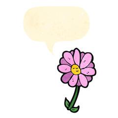 flower cartoon with speech bubble