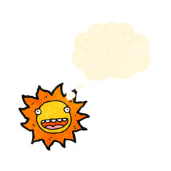 cartoon sun with thought bubble