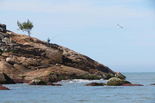 Homem pescando na costa