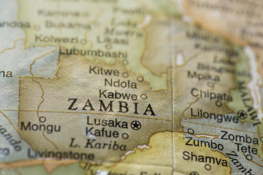 Macro of Zambia on a globe