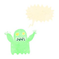 retro cartoon shrieking ghost