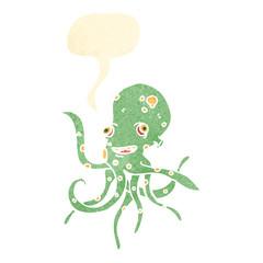 retro cartoon octopus with speech bubble