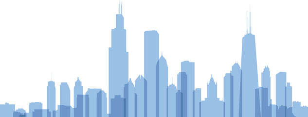 Skyline silhouette of the city of Chicago, USA.