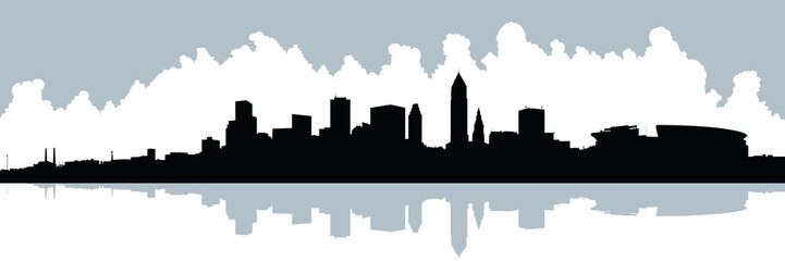 Skyline silhouette of the city of  Cleveland, Ohio, USA.