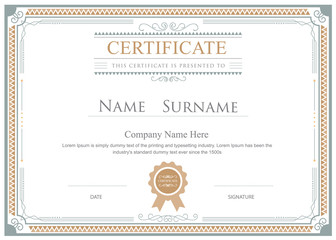 Certificate flourishes elegant vector template