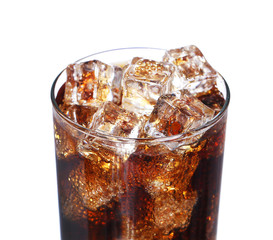 coca cola drink glass with ice cubes Isolated on white backgroun