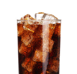 Cola soda drink glass with ice cubes Isolated on white backgroun