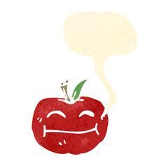 happy retro cartoon apple with speech bubble