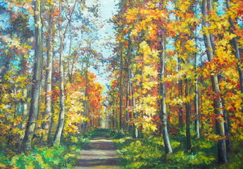 Original oil painting The road in the forest