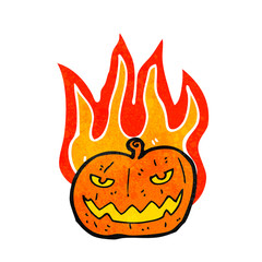 flaming halloween pumpkin cartoon