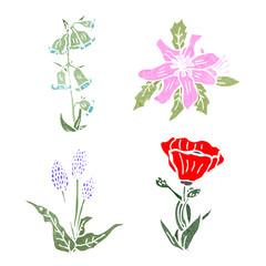 flowers retro illustration