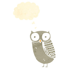retro cartoon owl with thought bubble