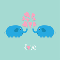 Two elephants with heart fountain Love card Flat design