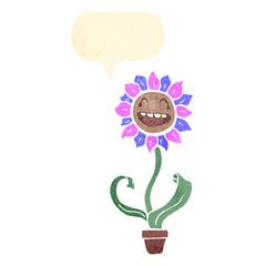 retro cartoon flower with speech bubble