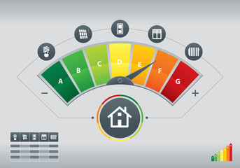 Illustration of energy efficiency meter with icons of house and chart