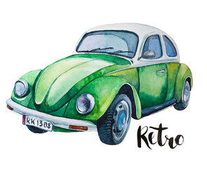 watercolor  illustration of retro green car. Beetle design.