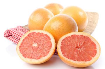 Fresh grapefruits on burlap