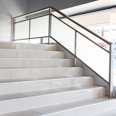 Photo on textile frame Stairs white stairs in modern office