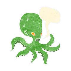 retro cartoon giant octopus