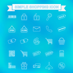 Simple shopping icon with unfocused background