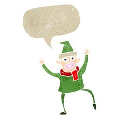 retro cartoon dancing christmas elf