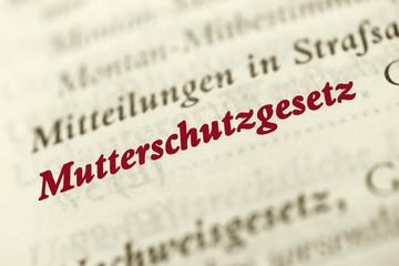 Mutterschutzgesetz - rote Schrift