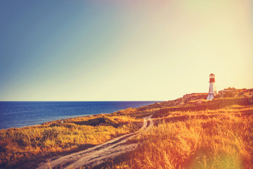 lighthouse near a sea in autumn time