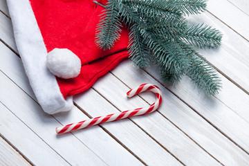 Santas hat and christmas candy