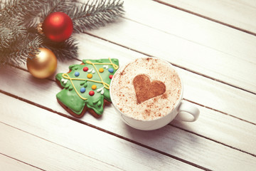 Cup of coffee and christmas gingerbread